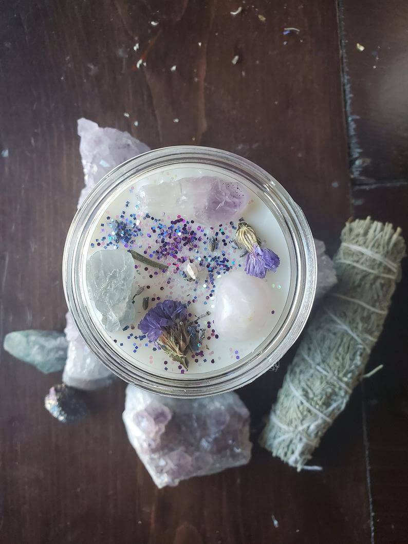 Daydream Blue Calcite Intention Candle Anxiety Relief Sunflower Lemongrass Marshamllow Root Crystal Soy